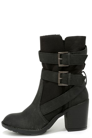 Report Yurick Black High Heel Fold-Over Boots at Lulus.com!