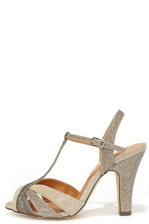 Chelsea Crew Diana Gold Fabric Peep-Toe Heels at Lulus.com!