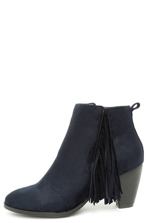 Rodeo Queen Navy Suede Fringe Booties at Lulus.com!