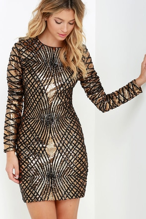 Truth or Dare Black and Gold Long Sleeve Sequin Dress at Lulus.com!
