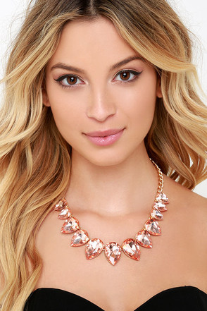 Princess Among Provinces Peach Rhinestone Statement Necklace at Lulus.com!