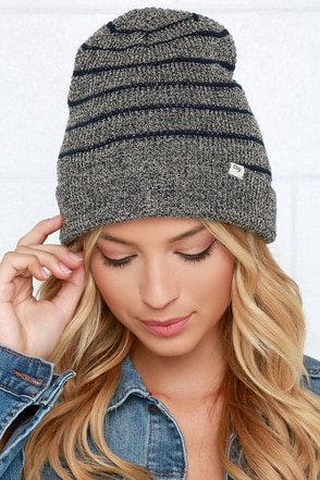 Obey Rothwell Cream and Navy Blue Striped Beanie at Lulus.com!