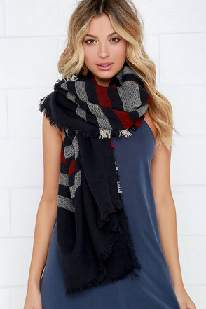 Weaving Path Navy Blue Striped Scarf at Lulus.com!