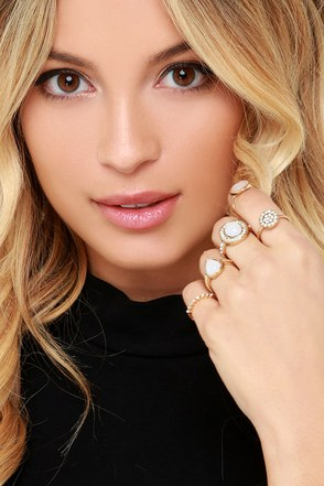 Hand in Hand Gold and White Ring Set at Lulus.com!