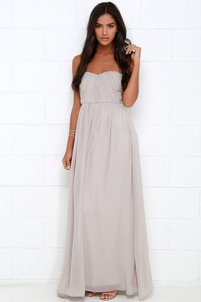 Draw Her In Navy Blue Strapless Maxi Dress at Lulus.com!