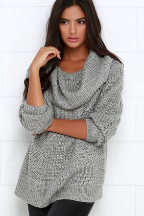 Somedays Lovin' Comfort Inn Grey Oversized Sweater at Lulus.com!