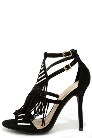 Magic Markings Black Fringe Heels at Lulus.com!