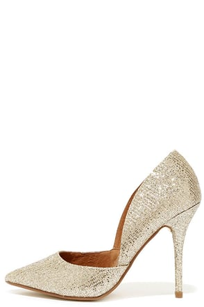 Chinese Laundry Stilo Champagne Glitter Gold D'Orsay Pumps at Lulus.com!