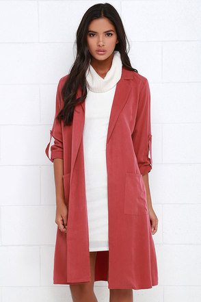 Balancing Act Washed Red Trench Coat at Lulus.com!