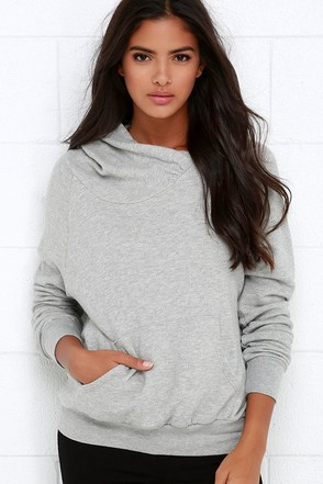 Project Social T Left Field Heather Grey Hoodie at Lulus.com!
