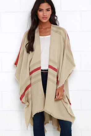 Gentle Fawn Kirin Beige Striped Poncho at Lulus.com!