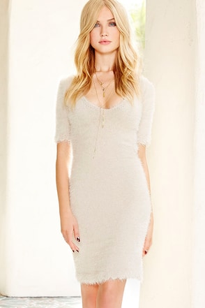 Feline Grace Fuzzy Light Beige Bodycon Dress at Lulus.com!