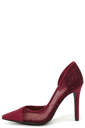 Jessica Simpson Cavilla Vampire Red Lace D'Orsay Pumps at Lulus.com!