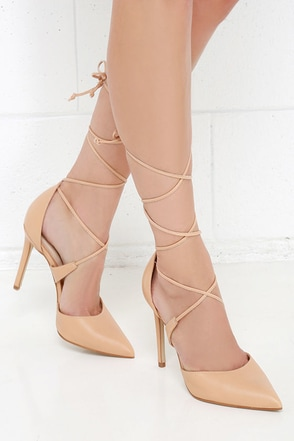 Steve Madden Raela Blush Leather Pointed Lace-Up Heels at Lulus.com!