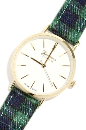 Get a Clue Green Plaid Watch at Lulus.com!
