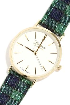 Get a Clue Green Plaid Watch at Lulus.com!