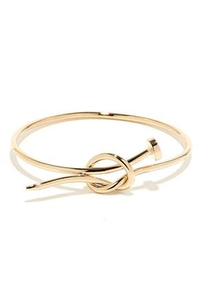 Hammer Time Gold Nail Bracelet at Lulus.com!