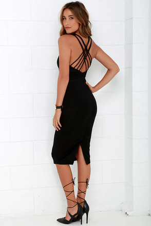 Strike Your Fancy Black Bodycon Midi Dress at Lulus.com!