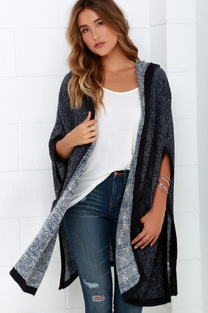 Hazel Undercover Navy Blue Hooded Poncho at Lulus.com!