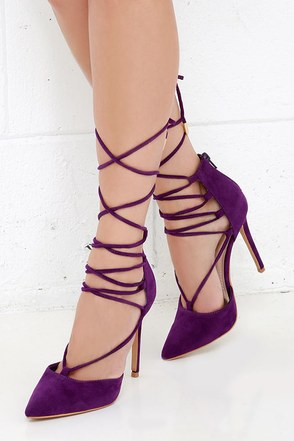 'Til You Get Enough Wine Red Lace-Up Heels at Lulus.com!