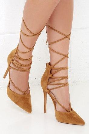 'Til You Get Enough Wine Red Lace-Up Heels at Lulus.com!