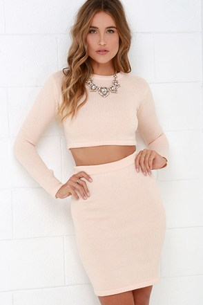 Belfry Chimes Pale Blush Two-Piece Sweater Dress at Lulus.com!