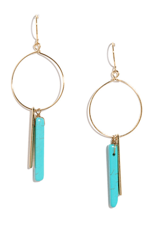 Heart of Gemstone Turquoise and Gold Hoop Earrings at Lulus.com!