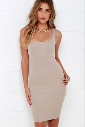Samba Step Beige Bodycon Midi Dress at Lulus.com!