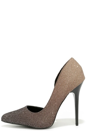 Where There's Smoke Black Ombre Glitter D'Orsay Pumps at Lulus.com!