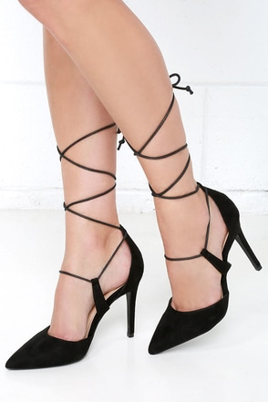 Rise Above Black Suede Lace-Up Heels at Lulus.com!