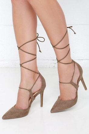 Rise Above Taupe Suede Lace-Up Heels at Lulus.com!