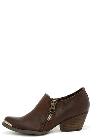 Very Volatile Ralla Brown Pointed Ankle Boots at Lulus.com!