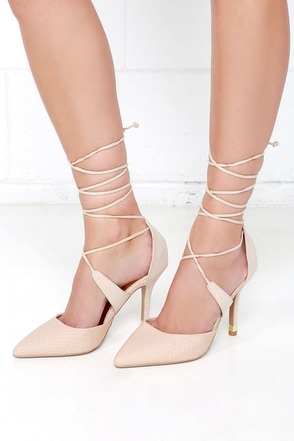 Tip of the Century Nude Snakeskin Lace-Up Heels at Lulus.com!