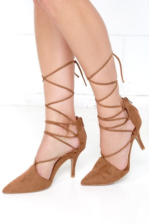 Best of Times Camel Brown Suede Lace-Up Heels at Lulus.com!