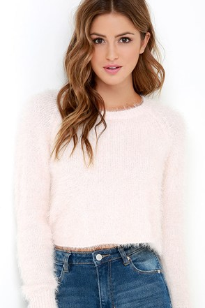 Billabong Liv Forever Pale Blush Cropped Sweater at Lulus.com!