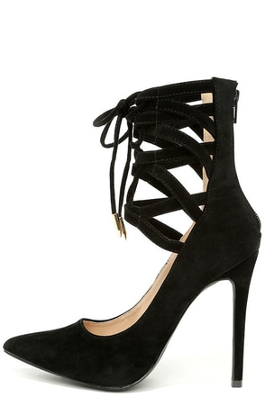 Lofty Ambitions Black Lace-Up Heels at Lulus.com!