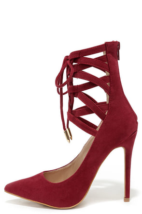 Lofty Ambitions Wine Red Lace-Up Heels at Lulus.com!