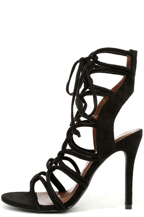 Sorry Not Sorry Black Lace-Up Heels at Lulus.com!