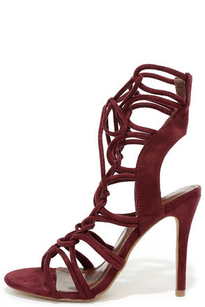 Sorry Not Sorry Wine Red Lace-Up Heels at Lulus.com!