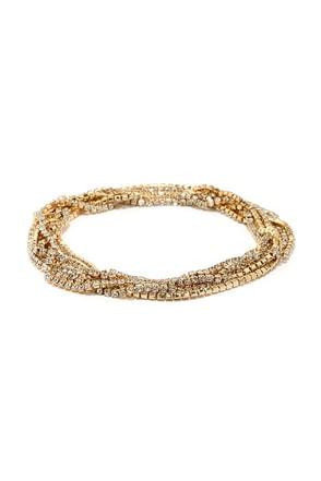 Twinkle Time Gold Rhinestone Wrap Bracelet at Lulus.com!