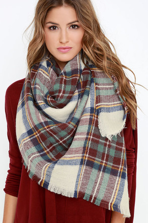 Ticket to Timbuktu Cream Plaid Scarf at Lulus.com!
