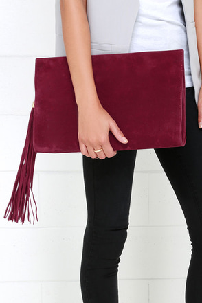 Complimentary Commentary Wine Red Clutch at Lulus.com!