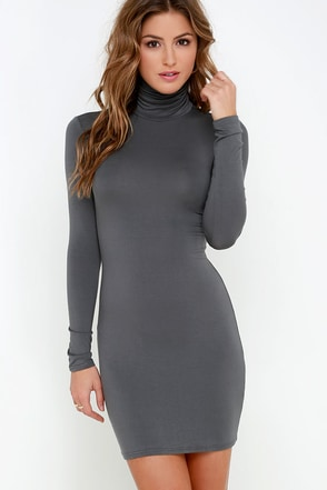 High Hopes Dark Grey Long Sleeve Bodycon Dress at Lulus.com!