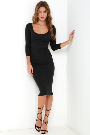 Billabong Shining Through Washed Black Midi Dress at Lulus.com!