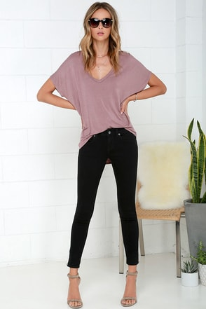 RVCA Lately Black Ankle Skinny Jeans at Lulus.com!