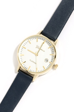 Now and Then Gold and Navy Blue Watch at Lulus.com!