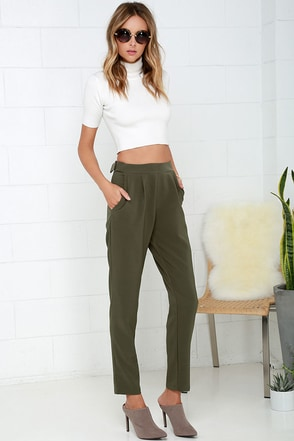 Looking Smart Olive Green Pants at Lulus.com!