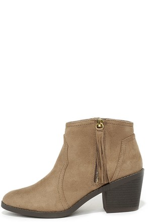 Quest Dressed Light Taupe Suede Ankle Boots at Lulus.com!
