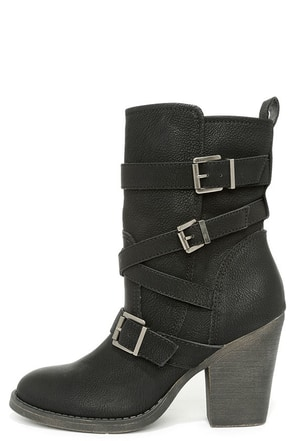 Madden Girl Kloo Black Buckled Mid-Calf Boots at Lulus.com!