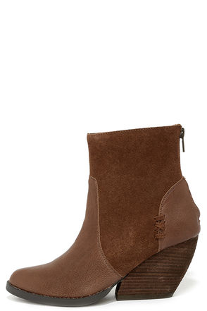 Very Volatile Nancy Brown Suede Leather Wedge Booties at Lulus.com!